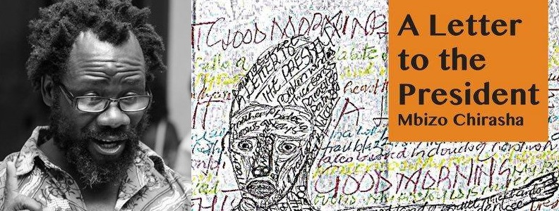Mbizo Chirasha and the cover of his 2019 poetry collection